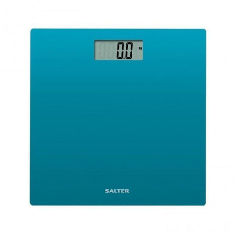 Salter 9069 Ultra Slim Modern Glass Electronic Bathroom Body Weight Scale (Blue) - Healthcare