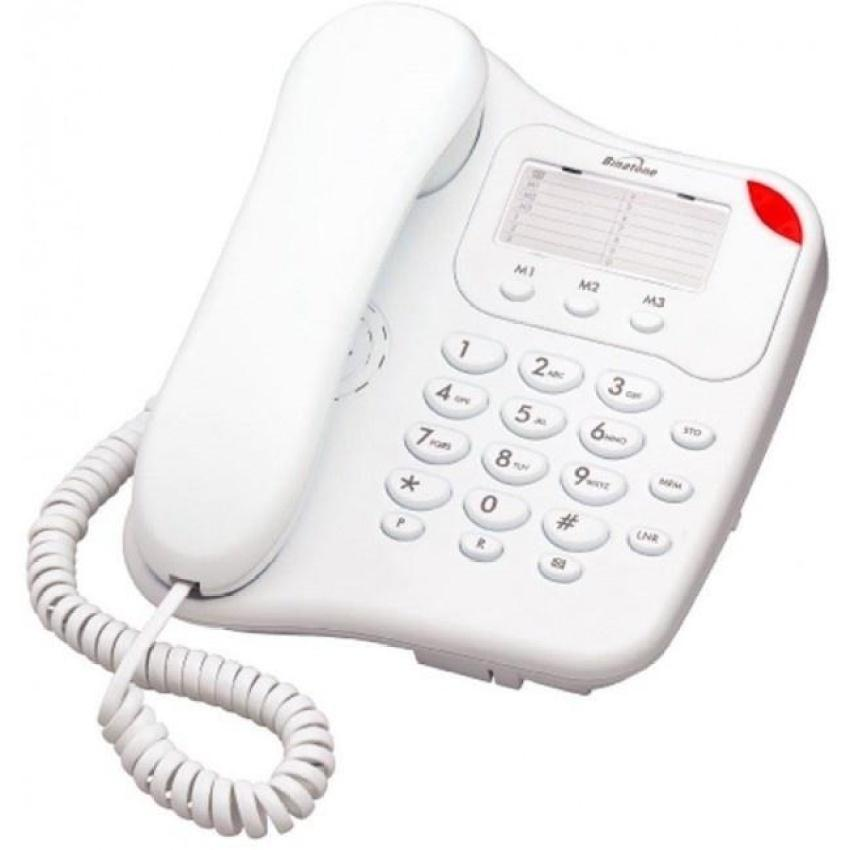 Binatone Lyris 110 Corded Home Desk Phone White - Easy to Use with Number Memory - Walkie Talkies & Phones