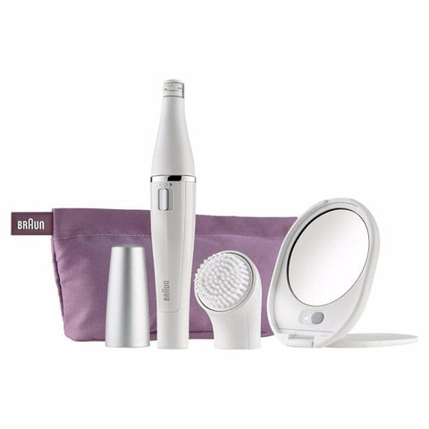 Braun Face 830 Facial Epilator Cleansing Brush Including Mirror Beauty Pouch - Personal Grooming