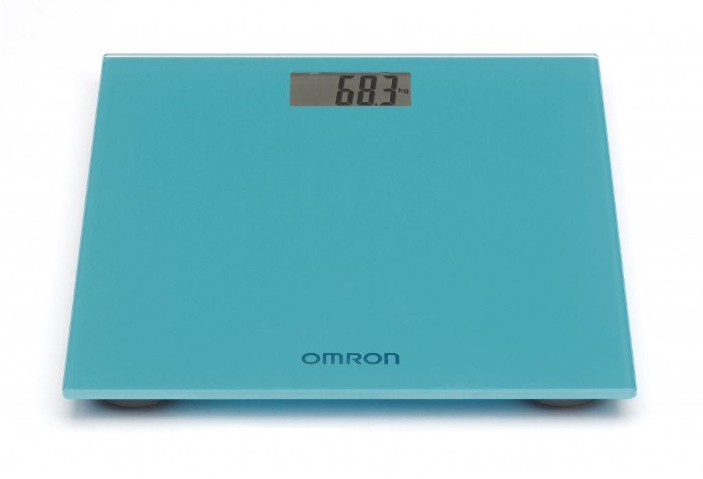 Omron Digital Personal Body Technology Weighing Slim Bathroom Scale Blue HN289 - Healthcare