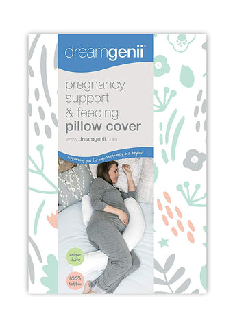Dreamgenii Pregnancy Support and Feeding Pillow Cover, Nature Cotton Grey/Coral - Mother Baby & Kids