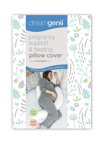 Dreamgenii Pregnancy Support and Feeding Pillow Cover, Nature Cotton Grey/Green - Mother Baby & Kids