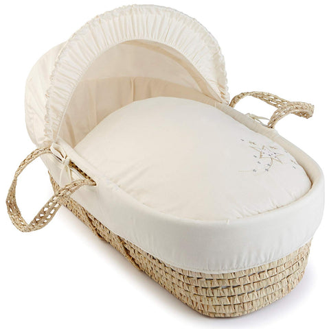 Clair de Lune Starburst Palm Moses Basket (Cream) - Mother Baby & Kids