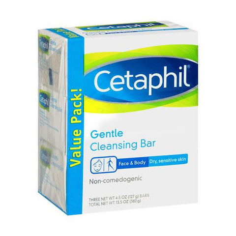 Cetaphil Gentle Cleansing Bar, 4.5 Ounce (3 Count) - Skincare