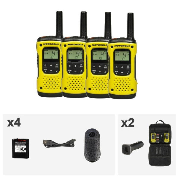 Motorola T92 H2O PMR446 2-Way Walkie Talkie Waterproof Radio with Travel Case (Quad Pack) (For export only) - Walkie Talkies & Phones