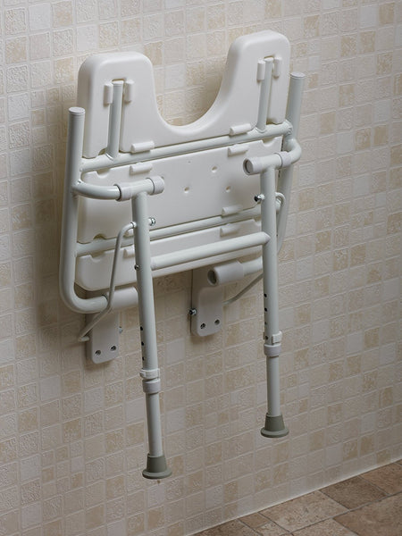 NRS Healthcare M00789 Shower Seat - Wall Mounted with Legs - Healthcare