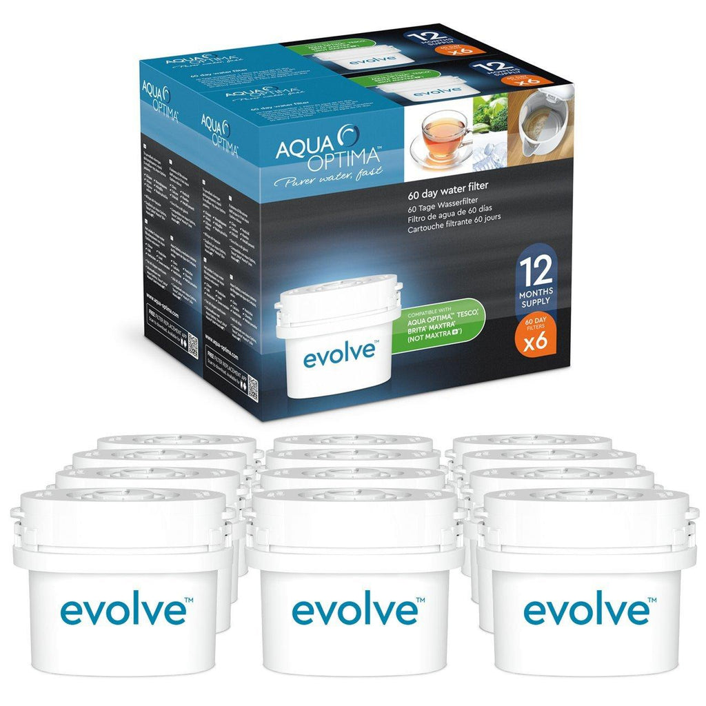 Aqua Optima - Evolve 2 year pack, 12 x 60 day water filters - Fit BRITA* Maxtra* (not Maxtra+*) - EVD912 - Water Filters