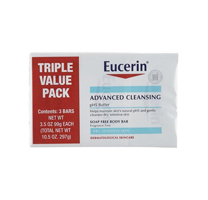Eucerin Advanced Cleansing Soap Free Body Bar, 3 Count - Skincare