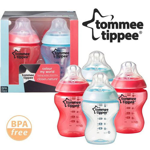 Tommee Tippee Colour My World 260ml Decorated Baby Boy Feeding Bottles (Red/Blue) (4 Counts) - Mother Baby & Kids