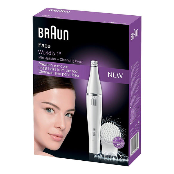 Braun Face 810 Facial Epilator, Hair Removal and Facial Cleansing, White - Personal Grooming