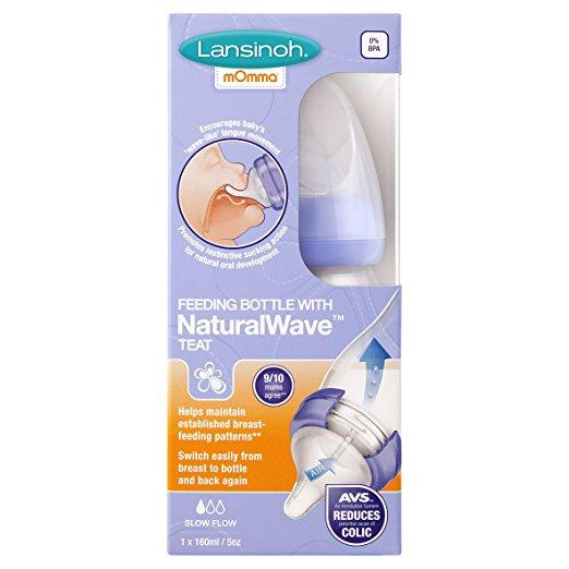 Lansinoh mOmma Feeding Bottle with Natural Wave Teat (160 ml) - Mother Baby & Kids