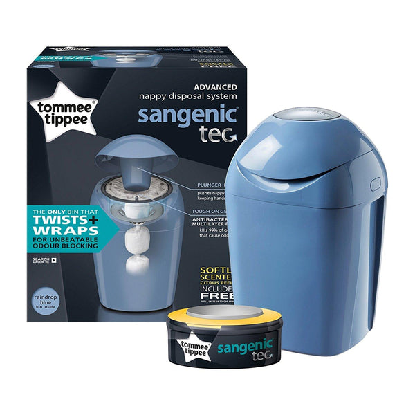 Tommee Tippee Sangenic Tec Nappy Disposal Tub (Raindrop Blue)