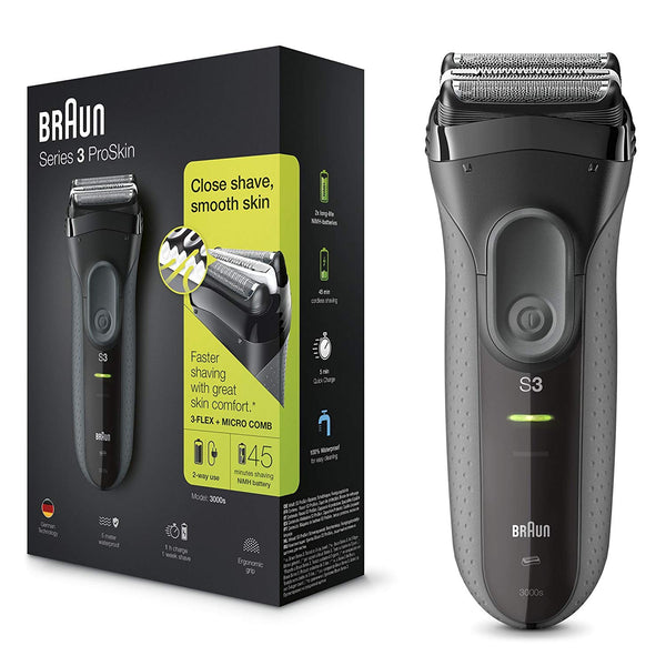 Braun Series 3 ProSkin 3000s Rechargeable Electric Shaver - Black - Personal Grooming