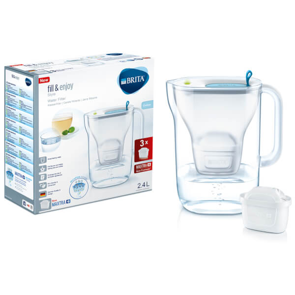 Brita Maxtra + Style Cool Water Filter Jug Starter Pack with 3 Cartridges (Blue) - Water Filters