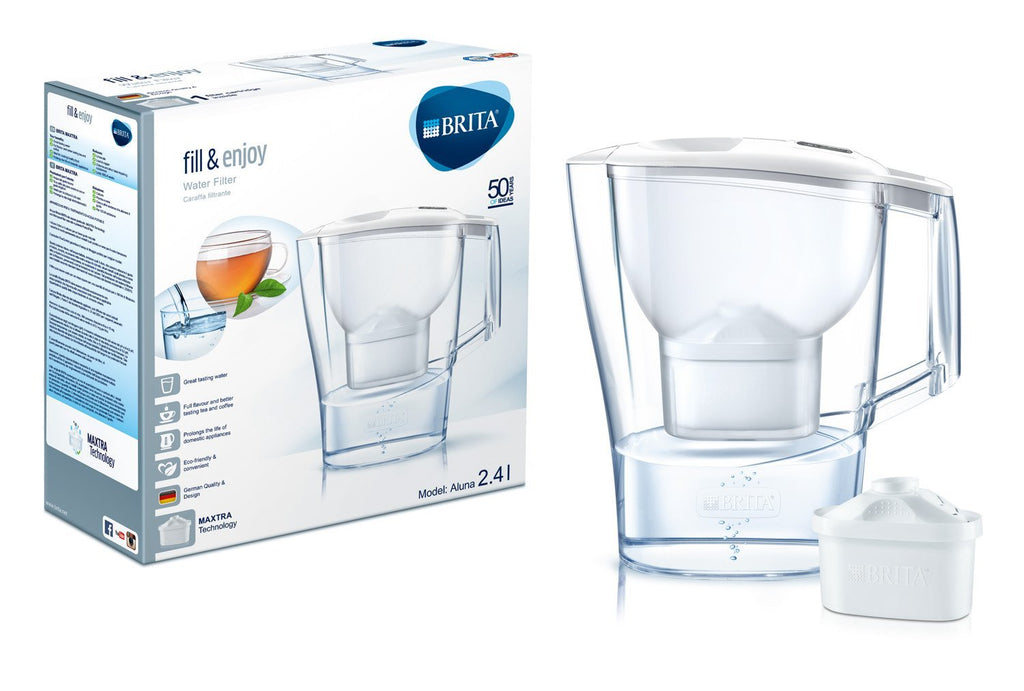 Brita Aluna Water Filter Jug Standard 2.4L with 1 Maxtra (White) - Water Filters