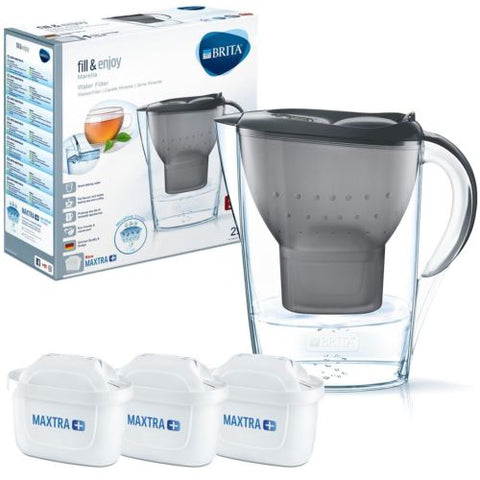Brita Marella 2.4L Water Jug with 3 Maxtra (Graphite Black) - Water Filters