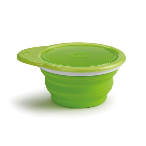 Munchkin 012377 Silicone Collapsible Go Bowl - Includes Lid for Storage (Color May Vary) - Mother Baby & Kids