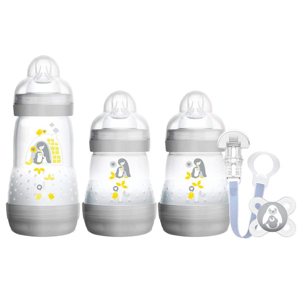 MAM Welcome to The World Set Includes Bottles, Soother and Clip, Grey -