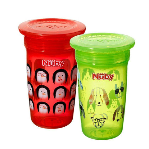 Nuby 360 Degree No Spill Cup, Maxi, Pack of 2 (Boy) - Mother Baby & Kids