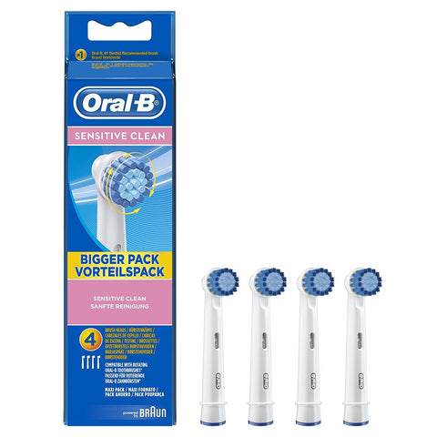 Oral-B Sensitive Clean Replacement Brush Heads - Pack of 4 (3 Sensitive Clean Brushes + 1 Sensi UltraThin Brush)