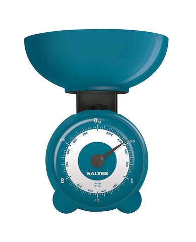 Salter Orb Mechanical Kitchen Scales - Fast Accurate Reliable Baking Cooking Food Weighing, Easy Read Dial, Dishwasher Safe Bowl, No Buttons / Batteries, Hassle Free, 15 Year Guarantee - Blue