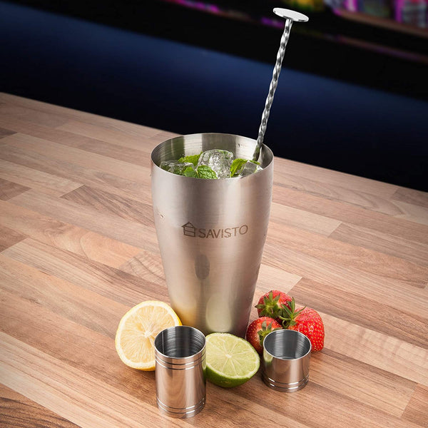 Savisto Premium Cocktail Set with Boston Cocktail Shaker Glass - Home & Living