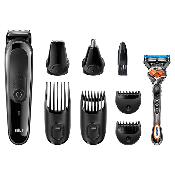 Braun MGK3060 8-in-1 Multi Grooming Kit, Face and Head Precision Trimming Kit - Black/Grey - Personal Grooming