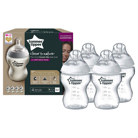 Tommee Tippee Closer to Nature Clear Bottles, 260 ml, Pack of 4 - Mother Baby & Kids
