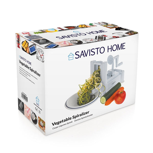 Savisto Tri-Blade Vegetable Spiralizer Slicer with 3 Interchangeable Stainless Steel Blades