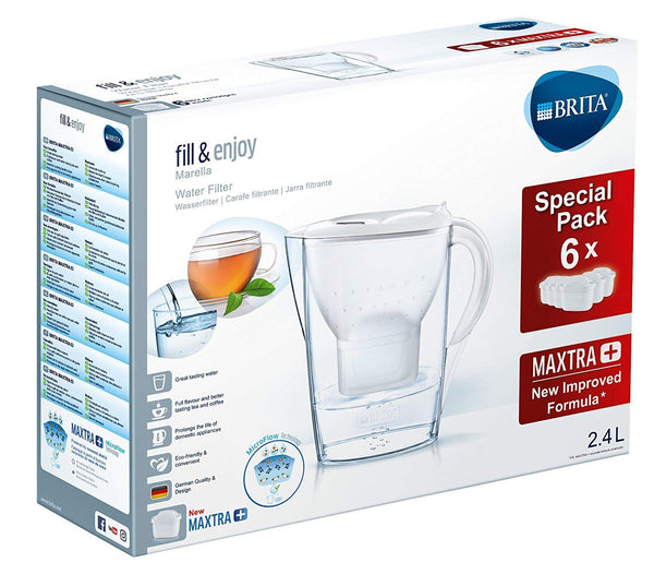 Brita Marella 2.4L Water Jug with 6 Maxtra Micro Flow (White) - Water Filters