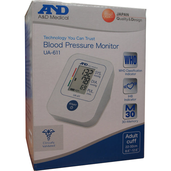 A&D Medical UA-611 Basic Upper Arm Auto Blood Pressure Monitor with SlimFit Cuff - Healthcare