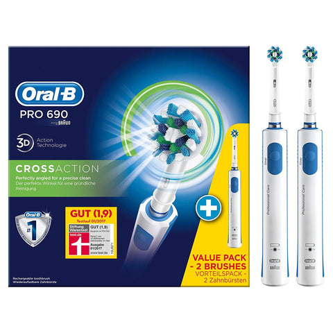Oral-B Pro 690 CrossAction Electric Rechargeable Toothbrush, Value Pack - 2 Brushes