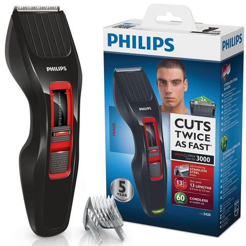 Philips Series 3000 Mens Cordless Hair Clipper Shaver DualCut Technology HC3420 - Personal Grooming