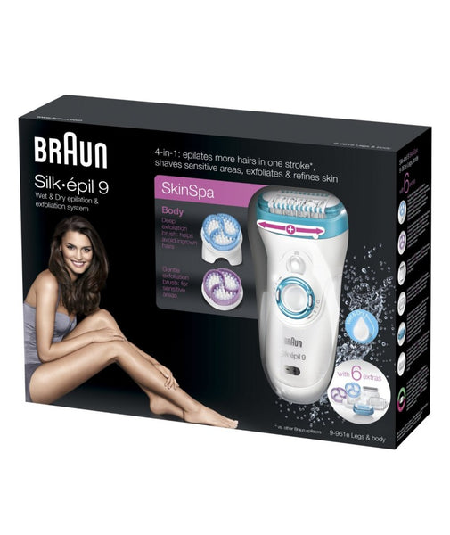 Braun Silk Epil 9 Wet and Dry Epilator and Exfoliation System with 6 Extras (Green) - Personal Grooming