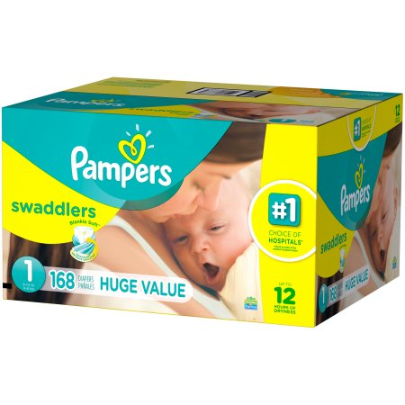 Pampers Swaddlers Diapers - Size 1 (168 Diapers) - Mother Baby & Kids