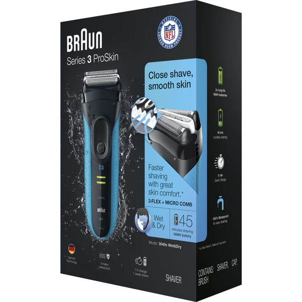 Braun Series 3 ProSkin 3040s Wet and Dry 3-Flex + Micro Comb Electric Foil Shaver - Personal Grooming