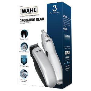 Wahl Grooming Gear Mens Ear Nose Trimmer 12 Piece Battery Travel Set + Case - Personal Grooming