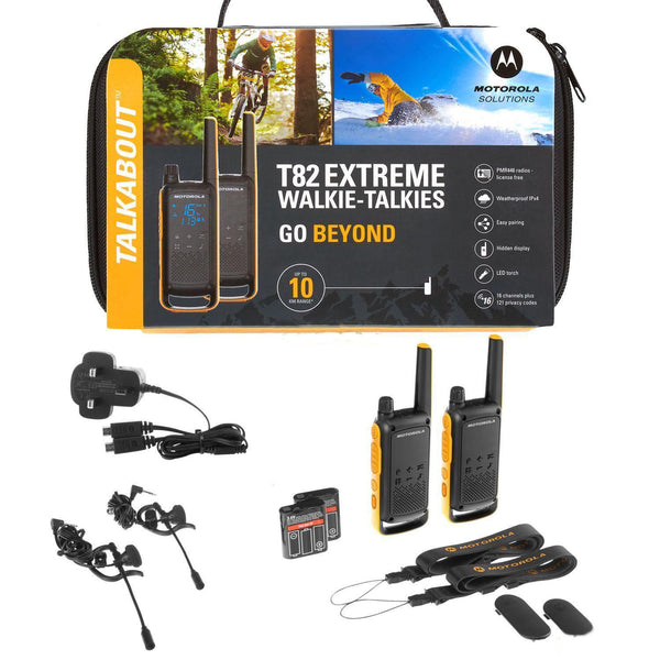 Motorola T82 Extreme Walkie Talkie PMR 446 Radios Twin Pack Rechargeable IPX4 (Twin) (For export only) - Walkie Talkies & Phones