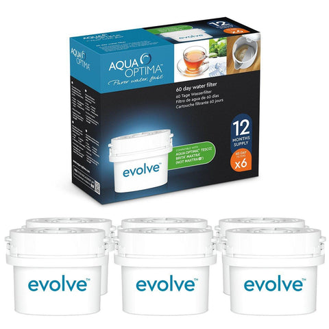 Aqua Optima - Evolve 12 month pack, 12 x 30 day water filters - Fit *BRITA Maxtra (not *Maxtra+) appliances - EVD602 - Water Filters
