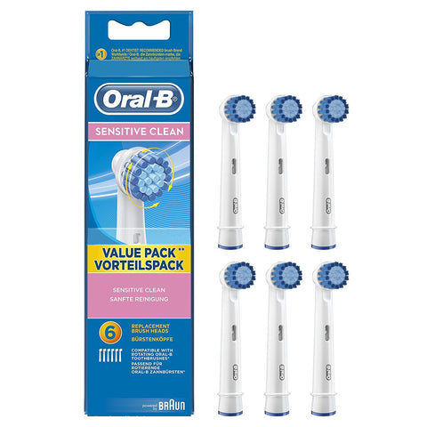 Oral-B Sensitive Clean Replacement Brush Heads - Pack of 6