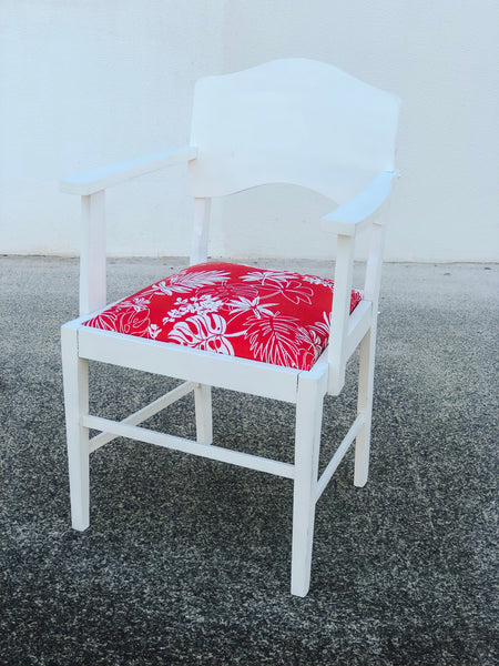red hawaiian fabric chair