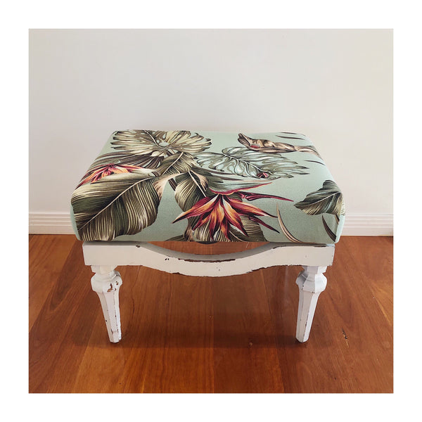 Vintage Footstool - Bird Of Paradise - SEASIDE INTERIORS & UPHOLSTERY