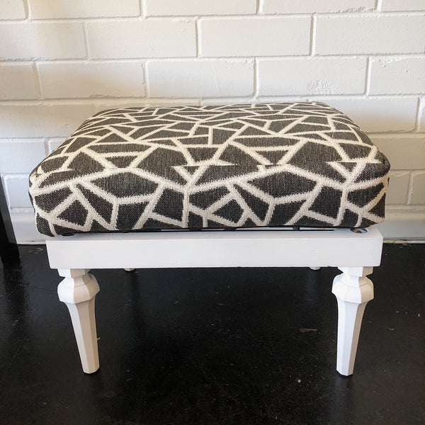Charcoal and White Vintage Footstool - SEASIDE INTERIORS & UPHOLSTERY