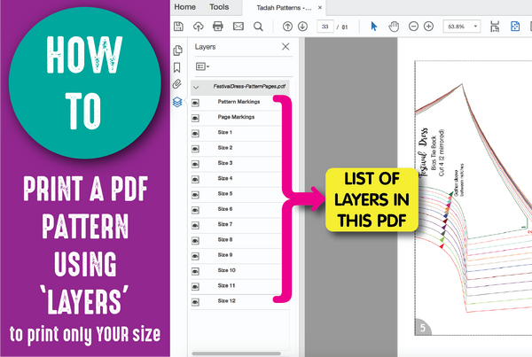 HOW TO: Print a PDF Pattern Using Layers