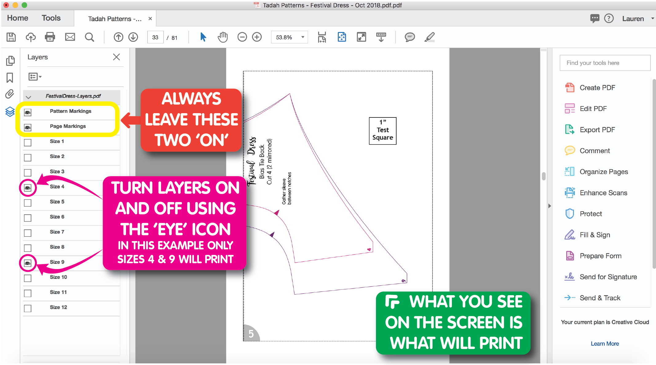 how to use layers in pdf pattern
