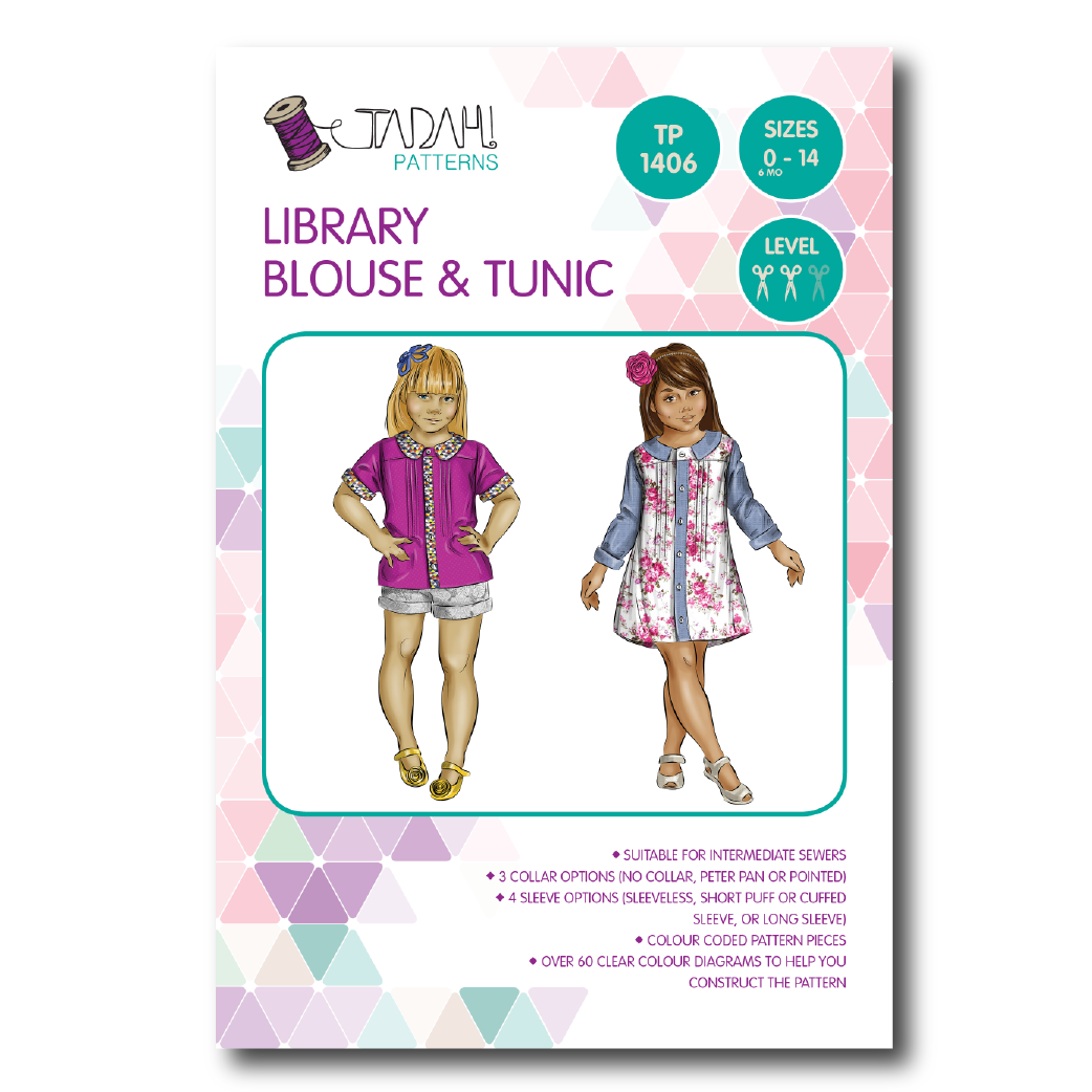 8a0100585 Library Blouse & Tunic Sewing Pattern - Tadah Patterns + Sewing