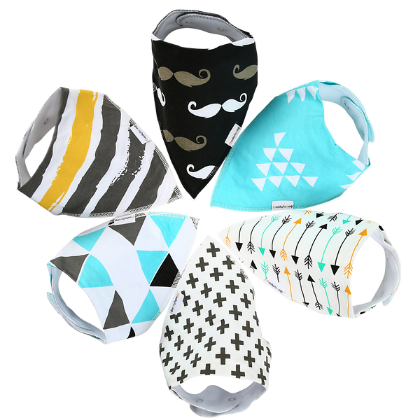 """Blue"" Bandana Baby Bibs (Set of 6)"
