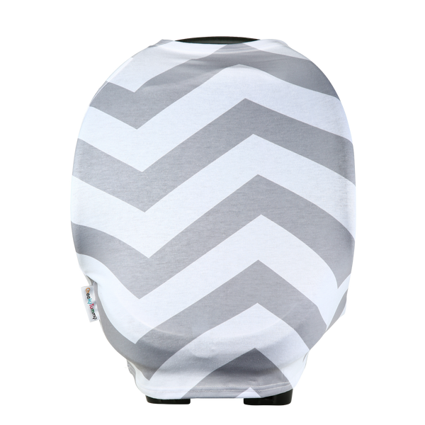 """Chevy"" Car Seat, Shopping Cart & Nursing Cover (Grey & White Chevron)"