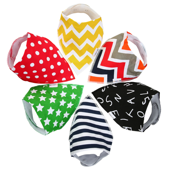 """Splash"" Bandana Baby Bibs (Set of 6)"