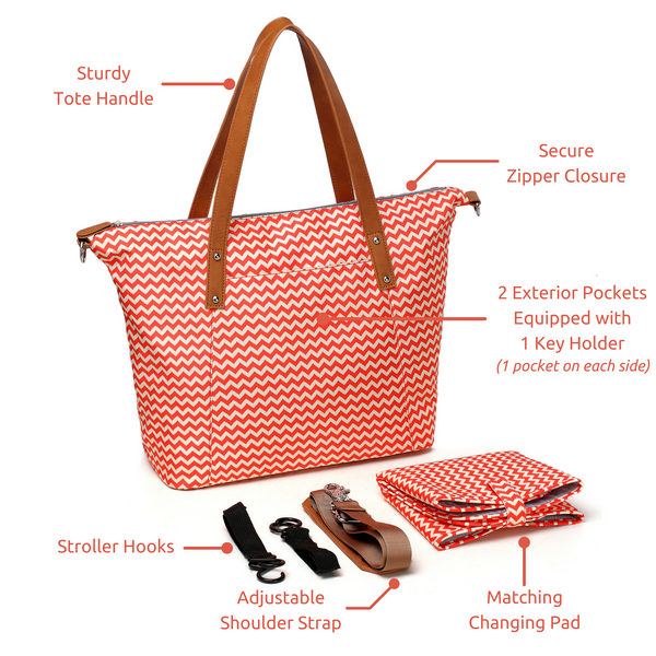 """Sassy"" Orange Chevron Diaper Tote"